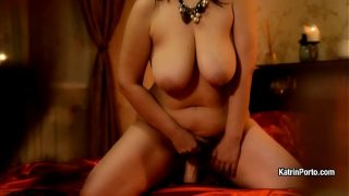 Bbw Katrin Porto demonstrates her body like a star and rides toy