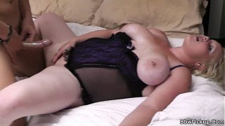 Blonde chubby girl friend enjoys his meat